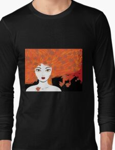 Autumn girl with red hair Long Sleeve T-Shirt