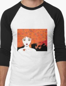 Autumn girl with red hair Men's Baseball ¾ T-Shirt