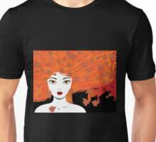 Autumn girl with red hair Unisex T-Shirt