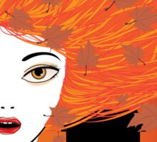 Autumn girl with red hair Sticker