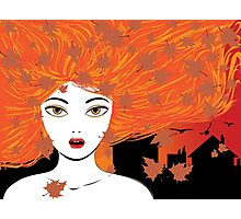 Autumn girl with red hair Photographic Print