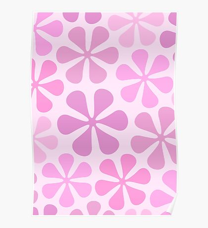 Abstract Flowers in Pinks Poster