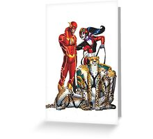 harley quinn and flash race Greeting Card