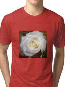 Close up of white rose 12 Tri-blend T-Shirt