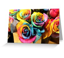 Colorful Bouquet of Rainbow Roses Greeting Card
