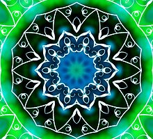 Green and White Swirls Kaleidoscope Mandala by TigerLynx