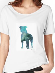 Blue pitbull watercolor art print painting Women's Relaxed Fit T-Shirt