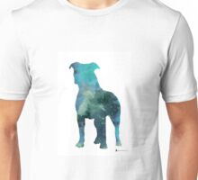 Blue pitbull watercolor art print painting Unisex T-Shirt