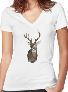 Triangle Deer Head Women's Fitted V-Neck T-Shirt