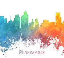 Minneapolis Skyline City colored by JBJart