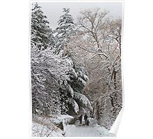 A Family Walk Along a Snowy Farm Lane  Poster