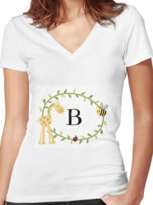 Nursery Letters B Women's Fitted V-Neck T-Shirt