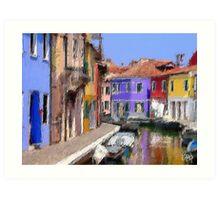 textured canal/burano Art Print