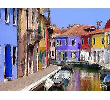textured canal/burano Photographic Print