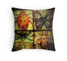Golden Wings/dragonfly beetle ladybug and flutterby Throw Pillow