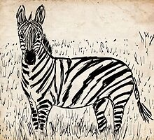Cool Zebra Scribble on Old Paper by ibadishi