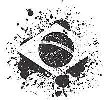 Grunge Brazilian Flag Photographic Print