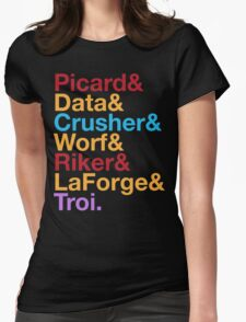 STAR TREK TNG The Next Generation Crew Names Ampersand Womens Fitted T-Shirt