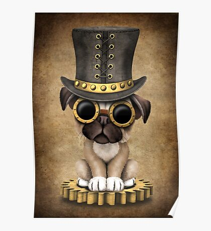 Cute Steampunk Pug Puppy Dog Poster