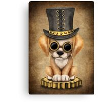 Cute Steampunk Golden Retriever Puppy Dog Canvas Print