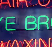 Hair color - eye brow waxing neon sign in NYC by Reinvention