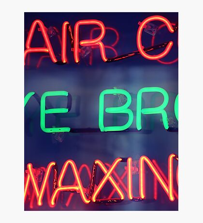 Hair color - eye brow waxing neon sign in NYC Photographic Print