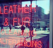 Dry cleaning neon sign, store window in NYC by Reinvention