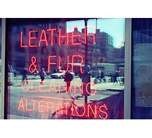 Dry cleaning neon sign, store window in NYC Photographic Print