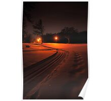 Ski Trail at Night Poster