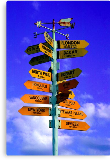 Signboard of directions to different Cities of the world by Aneurysm