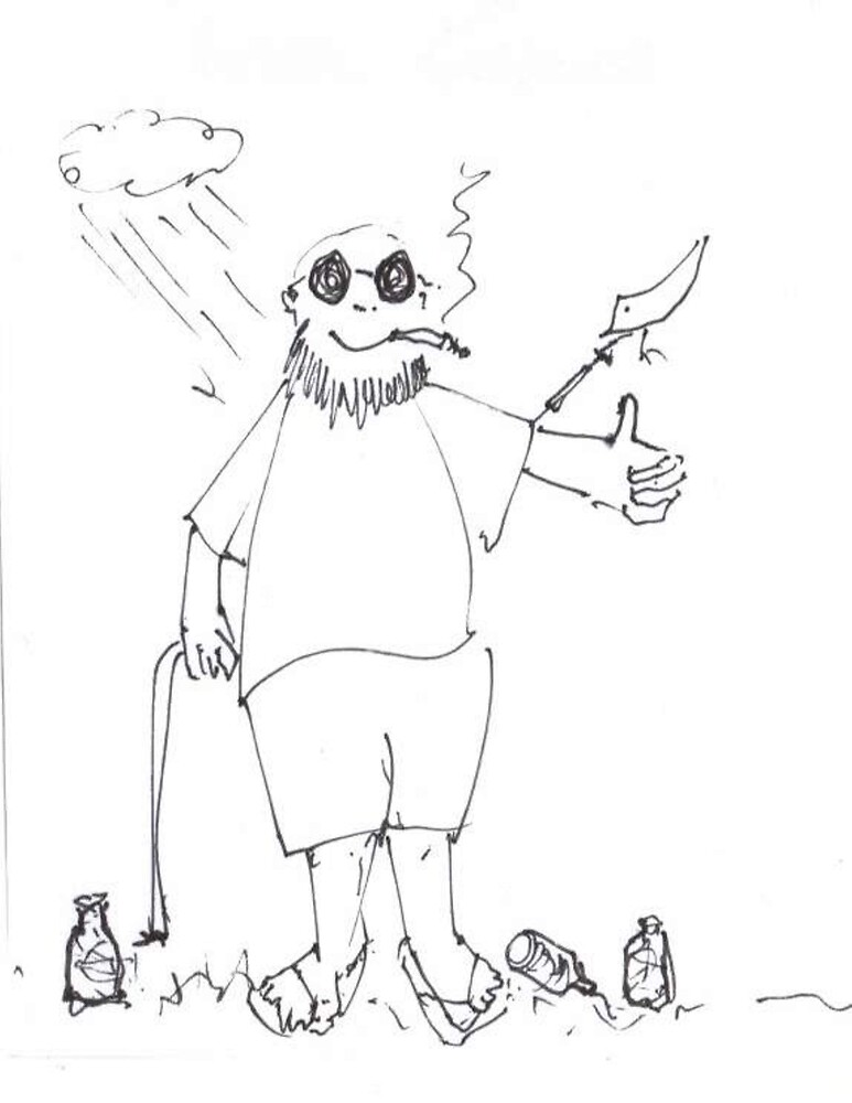 Me, a Syringe, a Bird, a Smoke, some Empty Bottles by Peter Searle ( the Elder )