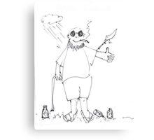 Me, a Syringe, a Bird, a Smoke, some Empty Bottles Canvas Print