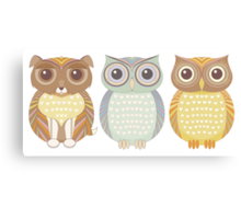 Fluffy Dog and Owl Cousins Canvas Print
