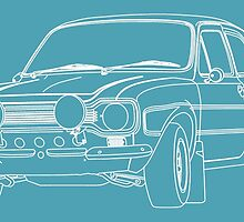 1970 Ford Escort RS2000 Fast and Furious Paul Walker's car White Outline no fill. by Adamasage