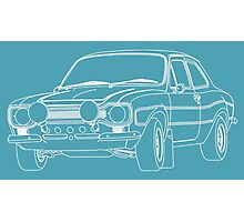 1970 Ford Escort RS2000 Fast and Furious Paul Walker's car White Outline no fill. Photographic Print