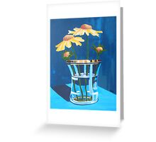Gold on Blue,floral still life. Greeting Card