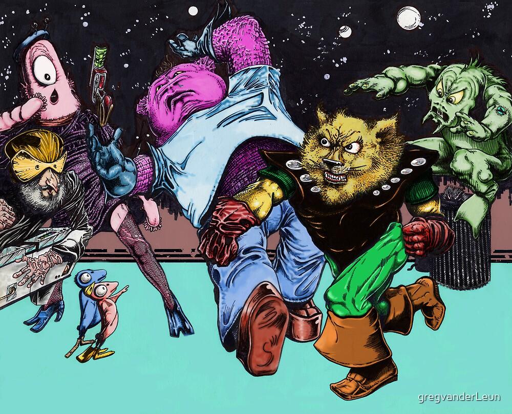 Space Cat Fight by gregvanderLeun