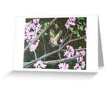 Goldfinch bird in blossom Greeting Card