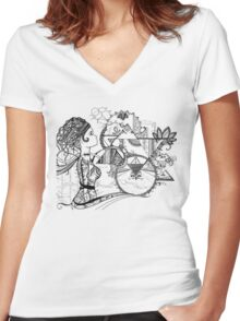 Robot Girl (black and white) Women's Fitted V-Neck T-Shirt