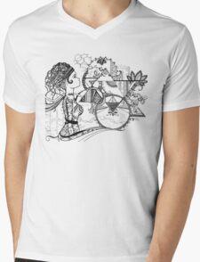 Robot Girl (black and white) Mens V-Neck T-Shirt