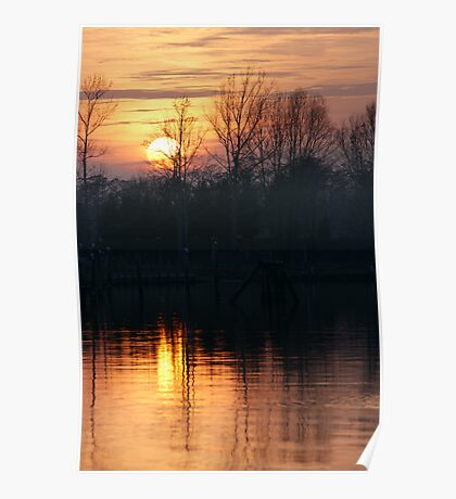 sunset lake Poster