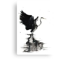Heron Stretching Wings Canvas Print