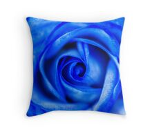 Abstract Macro Blue Rose Throw Pillow