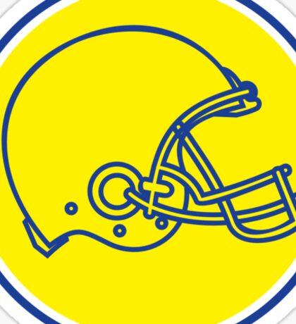 American Football Helmet Line Drawing Circle Retro Sticker