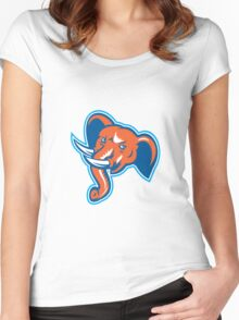 Elephant Head Angry Tusk Retro Women's Fitted Scoop T-Shirt