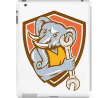 Elephant Mechanic Spanner Mascot Shield Retro iPad Case/Skin