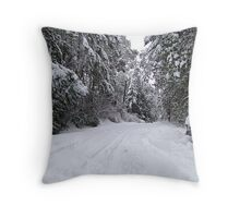 My Snowy Road Throw Pillow