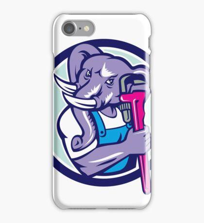 Elephant Plumber Mascot Monkey Wrench Circle Retro iPhone Case/Skin