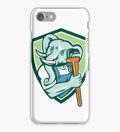 Elephant Plumber Mascot Monkey Wrench Shield Retro iPhone Case/Skin