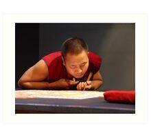 Tibetan monk creating sand mandala Art Print